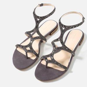NWT Zara dark gray sandals